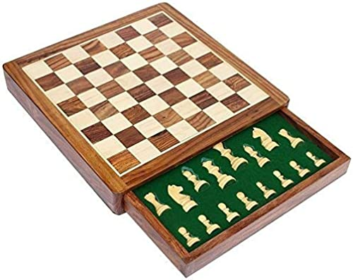 Royal Handicrafts Standard Magnetic Chess Board Game with Chessmen Storage Drawer