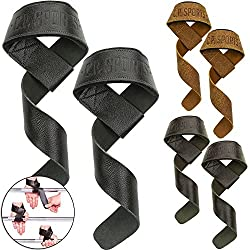 CP Sports Premium Leather Straps for Fitness, Bodybuilding and Strength Training - For Women and Men - 2 Years Warranty (Nature)
