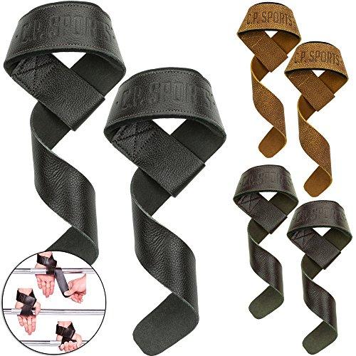 C.P. Sports Premium Zughilfen Leder für Fitness, Bodybuilding und Krafttraining - für Frauen und Männer - 2 Jahre Gewährleistung (Schwarz)
