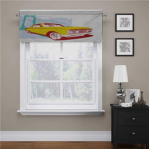 """Interestlee Vintage Car Curtain Valances for Windows Artwork with Old Vintage Custom Collectors Car Grunge Urban Background for Living Room/Kitchen/Bedroom Yellow Turquoise, 60"""" x 18"""""""