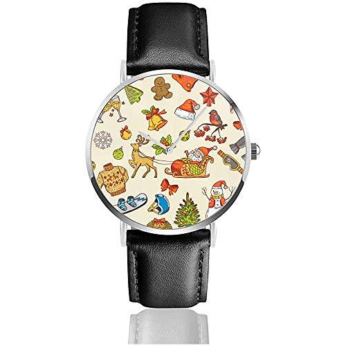 Feiertage Lustige Bilder Herrenuhr Uhren für Damen Lederarmband Schwarz