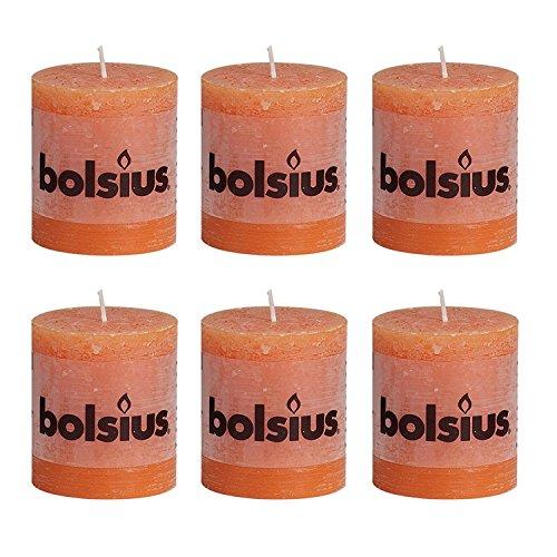Bolsius Wachskerzen, 6 Stück, 80/68mm, Rustikales Design, 33Farben erhältlich