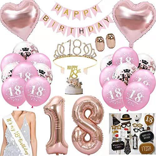 Anyingkai 18 Cumpleaños Globos,18 Años Cumpleaños Banda,18 Cumpleaños Chica,Decoración de Cumpleaños 18...