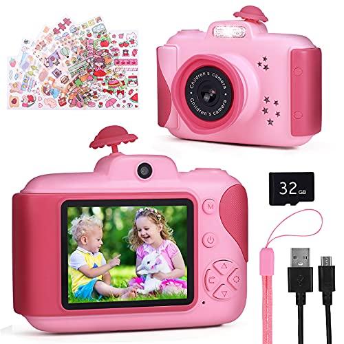 GOAMZ Kinderkamera,Digitalkamera Kinder mit 2,4 Zoll Großbildschirm 1080P HD 20MP Eingebaute 32GB SD-Karte USB Wiederaufladbare Selfie Kamera für 3-10 Jahre Geburtstag Kinder