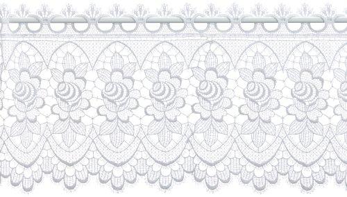 Plauener Spitze by Modespitze, Store Bistro Gardine Scheibengardine mit Stangendurchzug, hochwertige Stickerei, Höhe 32 cm, Breite 112 cm, Weiß