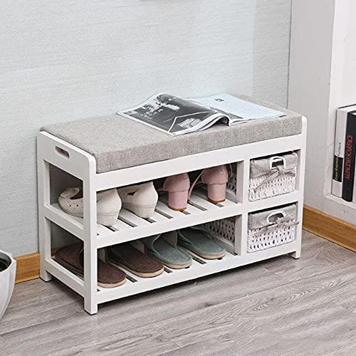 LJKD Estante para Zapatos de 2 Niveles, Estante para Almacenamiento de Zapatos de Madera con cojín de Tela, Organizador de Zapatos, Soporte para Pasillo, Dormitorio, 70X27X42,A4