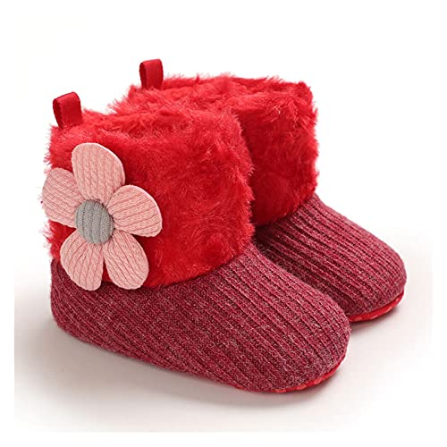 FURONGWANG6777BB Baby Girl Winter Botines de Nieve Softler Soft Faux Fur Knit Flower Botines Anti-Slip Infant Prewalkers (Baby Age : 0-6 Months, Color : B)