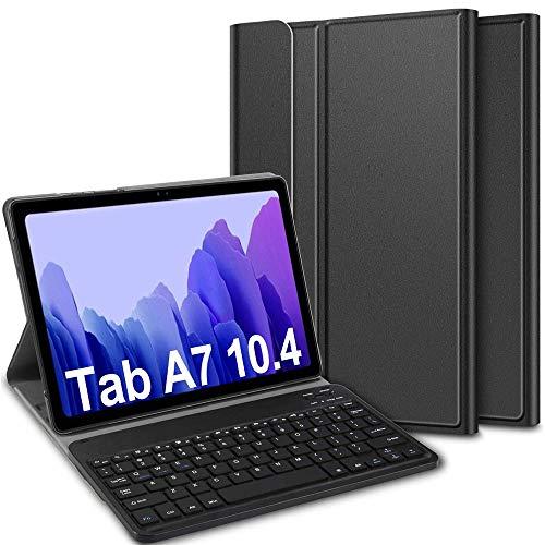Custodia Tastiera per Samsung Galaxy Tab A7, Italiana Bluetooth Tastiera con é.ç.Ñ.¿,Custodia con Wireless Tastiera Rimovibile con Protettiva Cover per Samsung Galaxy Tab A7 T505/T500 10.4 2020,Nero