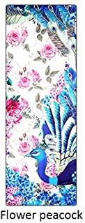Printed Non-Slip Yoga Towel Flower Peacock, Yoga Companion Soft Sweat is Not Easy to Move. Suitable for Hot Yoga Pilates