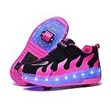[Leawin] リーウィン ローラーシューズ 男の子 女の子 キッズ ジュニア 子供靴 スニーカー 光る靴(ブラック×ローズレッド,22.0cm)