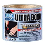 cofair products inc ubb425 Quick Roof, 4 -Inch x 25 -Feet, Black Ultra Bond, With Steel-Loc Adhesive, Instant Self-Adhesive Roof Repair