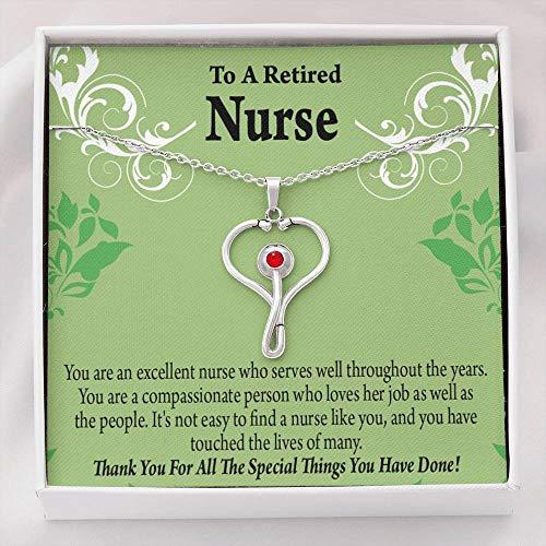Express Your Love Gifts Enfermera jubilada Thank You Healthcare Trabajador médico Enfermera Apreciación Regalo Estetoscopio Collar Colgante Cristal Personal Hospital
