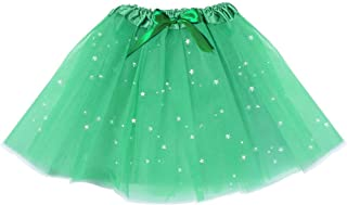 DomeStar Green Tutu Skirt, Ballet Tutus Stars Sequins Skirt with Bow for Girls, April Fools Day St Patricks Day Decorations
