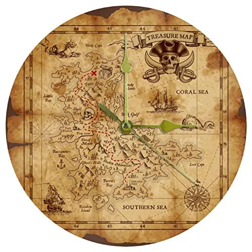 Yoliveya Reloj de pared redondo silencioso pirata mapa del tesoro decorativo sin garrapatas reloj silencioso para regalo en casa, oficina, cocina, guardería, sala de estar, dormitorio de 25 cm