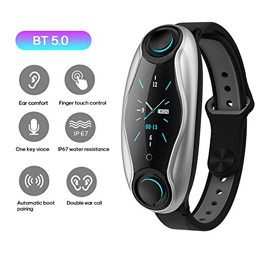 T90 2 in 1 Smart Watch Und TWS Earbuds, Bluetooth 5.0 Headset Wasserdicht Touch Control, integrierte Mikrofon Fitness Armband-Gesundheits-Tracker, Magnetic Charging Smartphone-kompatibel,Schwarz