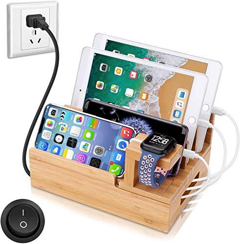 OthoKing Handy Ladestation USB Ladegerät mehrfach Ladestation für mehrere Geräte Smartphone Ladegerät für mehrere Handys USB Ladestation mehrfach aus Bambus (Bamboo)