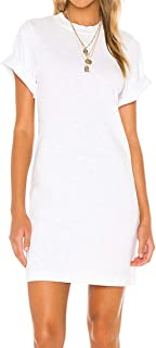 JLCNCUE Women's Stretchy Short Sleeves T-Shirt Dress Cotton Round Neck Casual Mini Dress Juniors Dress Top 71960