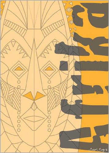 Onbekend in 5-delige set: Designer wenskaart - Afrikaans masker met Afrika belettering