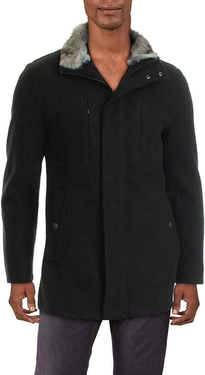 Andrew Marc Mens Westerhall Wool Blend Dressy Anorak Jacket Gray 2XL