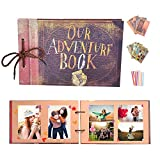 YIHAO Album de Fotos,Libro de Aventura con Accesoro Maravilloso, Our Adventure Scrapbooking DIY Vintage Aniversario Boda Amigos Novios Bebé Regalo único para el cumpleaños