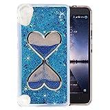 HTC Desire 626/ HTC 530 Case, QKKE [Wine Glass Diamond Series] 3D Glitter Bling Hearts Flowing Liquid Star Clear Hard Case for HTC Desire 626/ HTC 530(Hourglass/Blue)