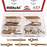 Hilitchi 100Pcs Baby Bed Crib Screws Bolts Nuts M6 Zinc Plated Hex Socket Head Cap Screws Bolt Nuts, Barrel Bolt Nuts Hardware Replacement Kit for Furniture Cots Beds Crib and Chairs
