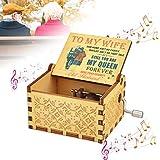 EMAGEREN Caja de Música Caja de Madera Musical de Manivela Mini Caja de Musica de Pintado Vintage Musica Cajita Musical Tallado Regalo Romantico de San Valentín Cumpleaños Día de La Madre para Esposa
