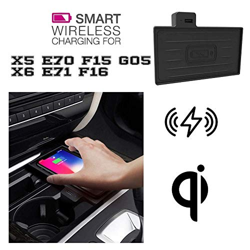 SEESEE.U - Cargador inalámbrico para coche compatible con BMW X5 X6, cargador USB, compatible con Galaxy Note 10+/Note10/S10/S10+/S9+/S8+/Note9/Note8