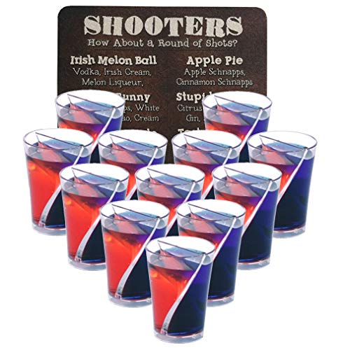 Split Shot Glasses Reusable Clear Plastic Shot Glasses – Set of 12 Shot Glasses with One Recipe Cocktail Bar Coaster
