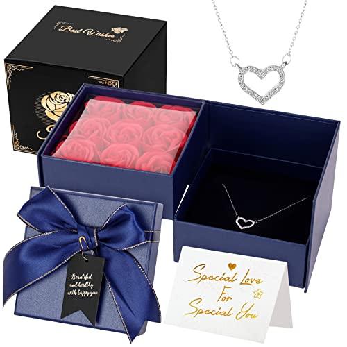 Joyhoop Rosa Eterna, Roja Caja de Regalos y Collar de Corazón, Regalos Originales para Mujer, Regalos para San Valentin, Regalos Mujer, Regalos para Mujer Cumpleaños y Aniversario.