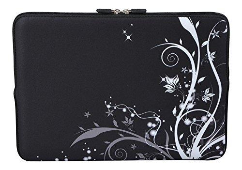MySleeveDesign Laptoptasche Notebooktasche Sleeve für 10,2 Zoll / 11,6-12,1 Zoll / 13,3 Zoll / 14 Zoll / 15,6 Zoll / 17,3 Zoll - Neopren Schutzhülle mit VERSCH. Designs - Flowers White [11-12]