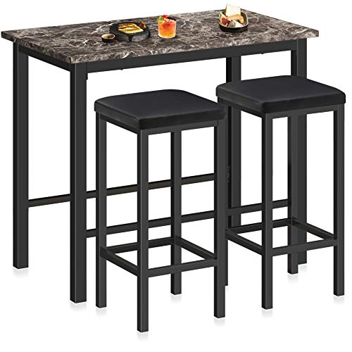 HOMURY 3-Piece Pub Bar Table Set with Faux Marble Top Counter Height Table Set with 2 Stools, 29.5'