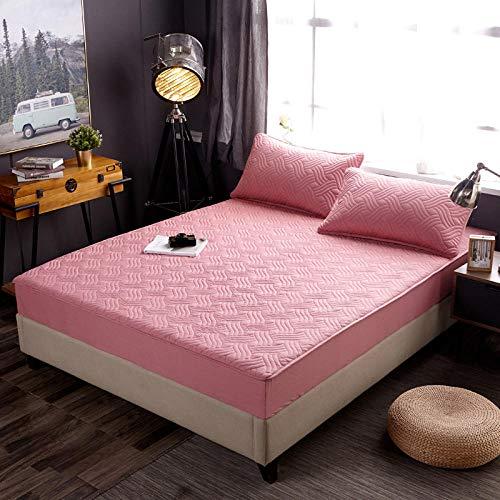 Nuoxuan Premium Sábana Bajera,Hojas de Color sólido a Rayas de algodón Puro, Dormitorio de apartamento Cubierta de Polvo Individual y Doble Doble-Rojo_180 * 220cm