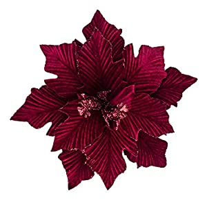 KI Store Large Christmas Artificial Flower Burgundy Picks Spray for Christmas Tree Decoration