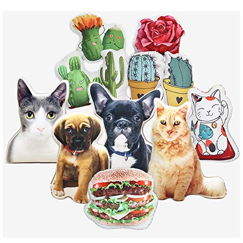 ASSIALL Personalised Pet Pillow DIY Custom Dog Cat Anime Potting Shaped Cushions 3D Duplex Printing Sofa Car Poly Cotton Throw pillow Creative Memorial Home Ornament Plush Toy Handcraft Gift (20.5'')