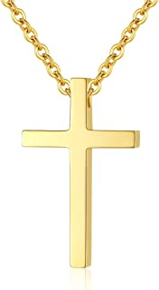 Simple Stainless Steel Cross Pendant Chain Necklace for Men Women, 20-22 Inches Link Chain