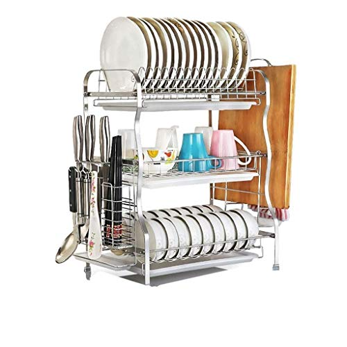 Planken 3 Tier RVS afdruiprek Rack Holder Cup Bowl Holder Scherpe Raad Holder messenblok - Kitchen Craft Bestek Aftappen Basket - Silver Flower Pot Rack XIUYU