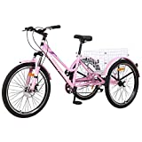 VANELL Adult Mountain Tricycle 7 Speed Three Wheel Cruiser Trike Bike with Front Suspension Fork Front Disc Brake MTB Tire Bicycle Low-Step Through Frame (Upgrade-Pink, 24'&7speed)