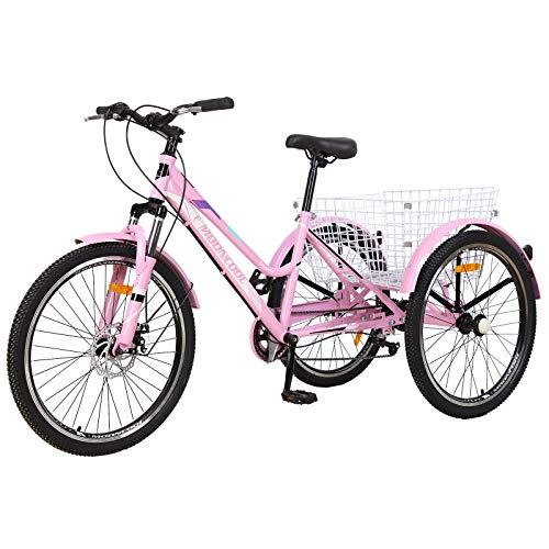 "VANELL Adult Mountain Tricycle 7 Speed Three Wheel Cruiser Trike Bike with Front Suspension Fork Front Disc Brake MTB Tire Bicycle Low-Step Through Frame (Upgrade-Pink, 24""&7speed)"