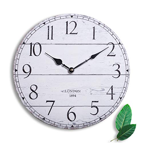 Unicam Decor Wall Clock, Antique Wall Hung Clock, 13 Inches Decorative Wall Clock with Arabic Numerals for Living Room, Bedroom, Dining Room, Kitchen and So on, Round, Vintage White.