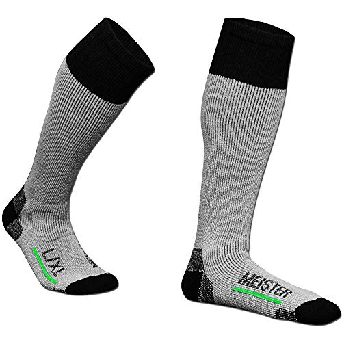 Meister Performance Wool Blend Over-The-Calf Socks - Warm, Dry & Comfortable - Heather Gray - Large/X-Large - 2 Pairs