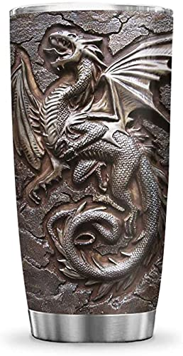 64HYDRO 20oz Printed Dragon Fossil Viking Celtic Dragon Lover Tumbler Cup with Lid, Double Wall Vacuum Thermos Insulated Travel Coffee Mug - PYR2611009