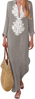 Morecome,Women's Printed Long Sleeve Silky V-Neck Maxi Dress Split Hem Baggy Kaftan Long Dress
