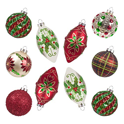 Teresa's Collection 10ct Country Road Glass Blown Christmas Ball Ornaments Red Green and Gold,3.15inch-4.72inch,Themed with Tree Skirt(Not Included)