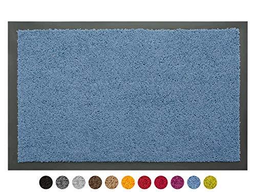 Schmutzfangmatte Sauberlauf Matte DANCER – Blau, 60x80 cm, Waschbare, Rutschfeste, Pflegeleichte Fußmatte, Eingangsmatte, Küchenläufer Matte, Türmatte Haustür Innen & Außen