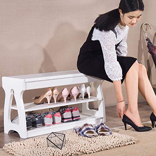 Shoe bench Weiße Feste hölzerne Schuh-Bank, rechteckige Schuh-Speicher-Bank mit leichtem Deckel, Flur-Möbel-Schuhregale Hochleistungsdekorations-Schuhstand, mit...