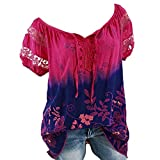 SSYongxia Womens Loose Plus Size Floral Print T-Shirt Tee S-5XL, V Neck Hollow Out Shirt Tops Tie Dye Ugly Shirt Blouse Hot Pink