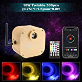CHINLY Bluetooth Twinkle 16W RGBW APP/Remote LED Fiber Optic Star Ceiling Lights Kit Mixed 300pcs (0.03in+0.04in+0.06in) 9.8ft +5 Crystals