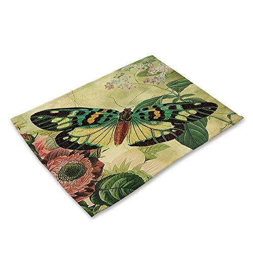 Platzsets Tischset Mode Blume Schmetterling Muster Tischmatte Küche Dekoration Tisch Serviette Für Hochzeit Tischmatte Tischset Esszubehör 17
