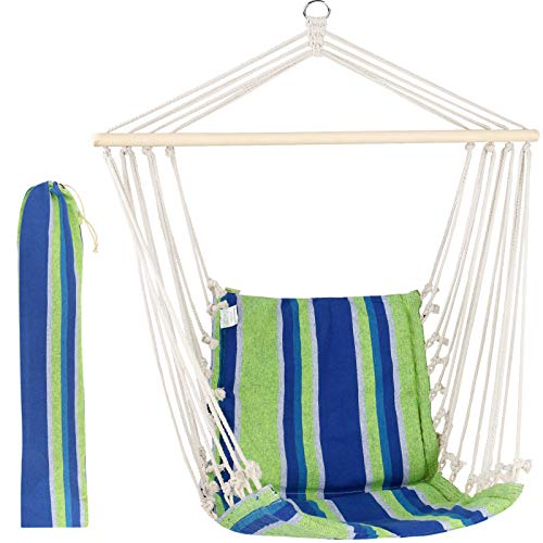 Hammock Chair Hanging Rope Swing Seat for Any Indoor or Outdoor Spaces - Swinging Camping Chair Pink Stripe …